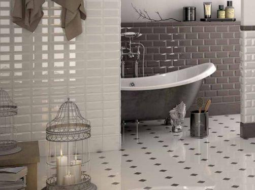Diamantate e ottagono con tozzetto for Piastrelle bagno bianche e nere