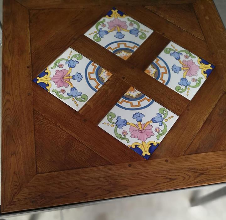 Dcasa Ittavolo Versailles Con Ceramiche Di Vietri Top In Legno Massello E Ceramiche Vietresi